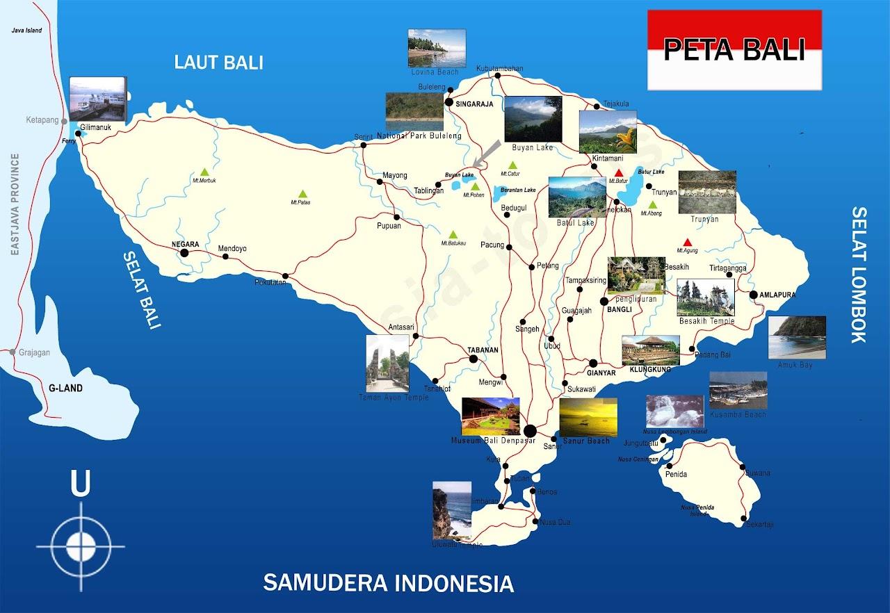 Gambar Peta Bali lengkap dengan nama kabupaten dan kota
