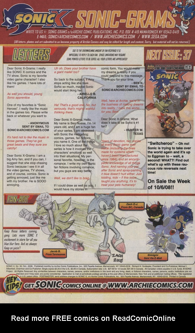 Read online Sonic X comic -  Issue #36 - 34