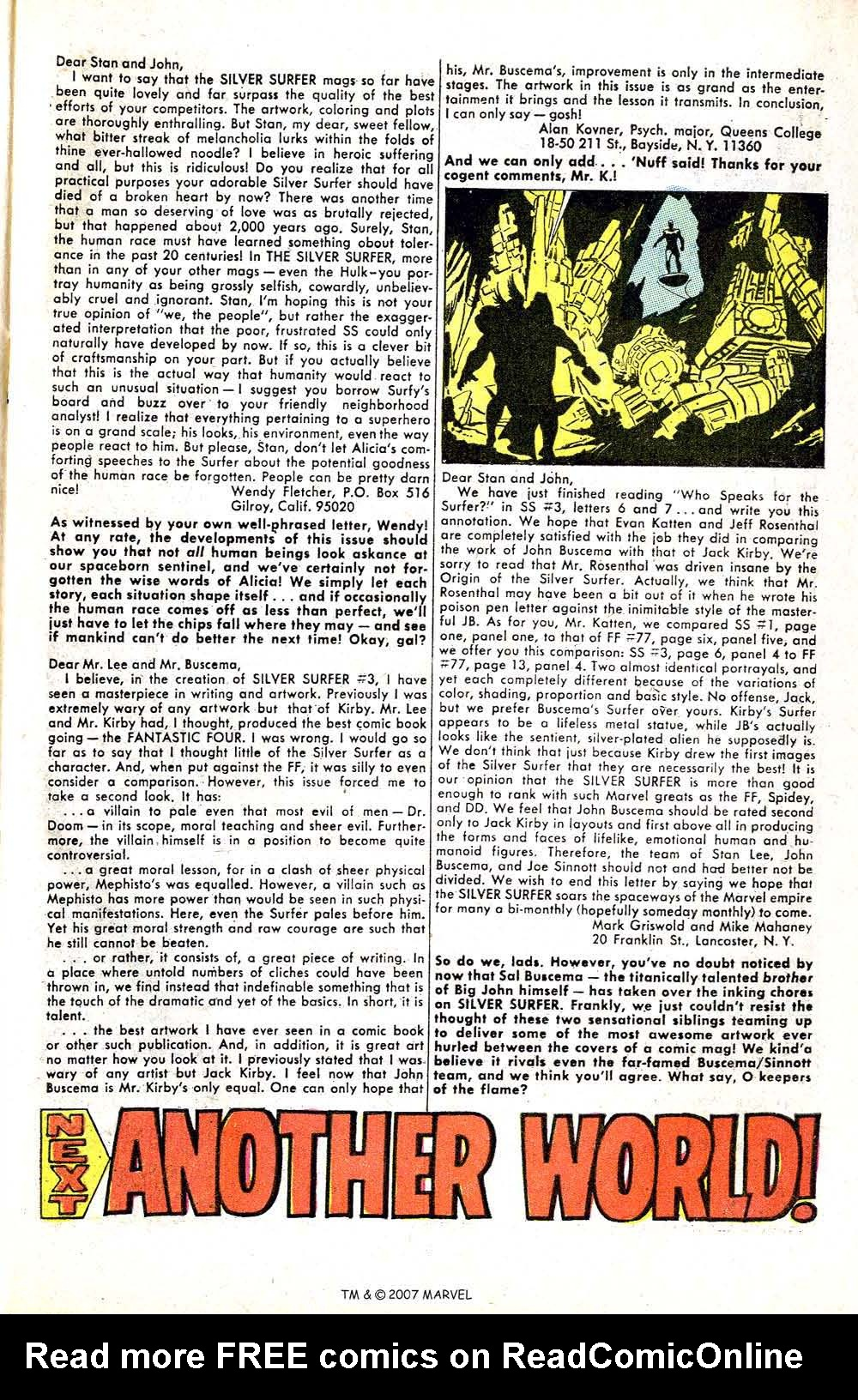 Read online Silver Surfer (1968) comic -  Issue #5 - 65