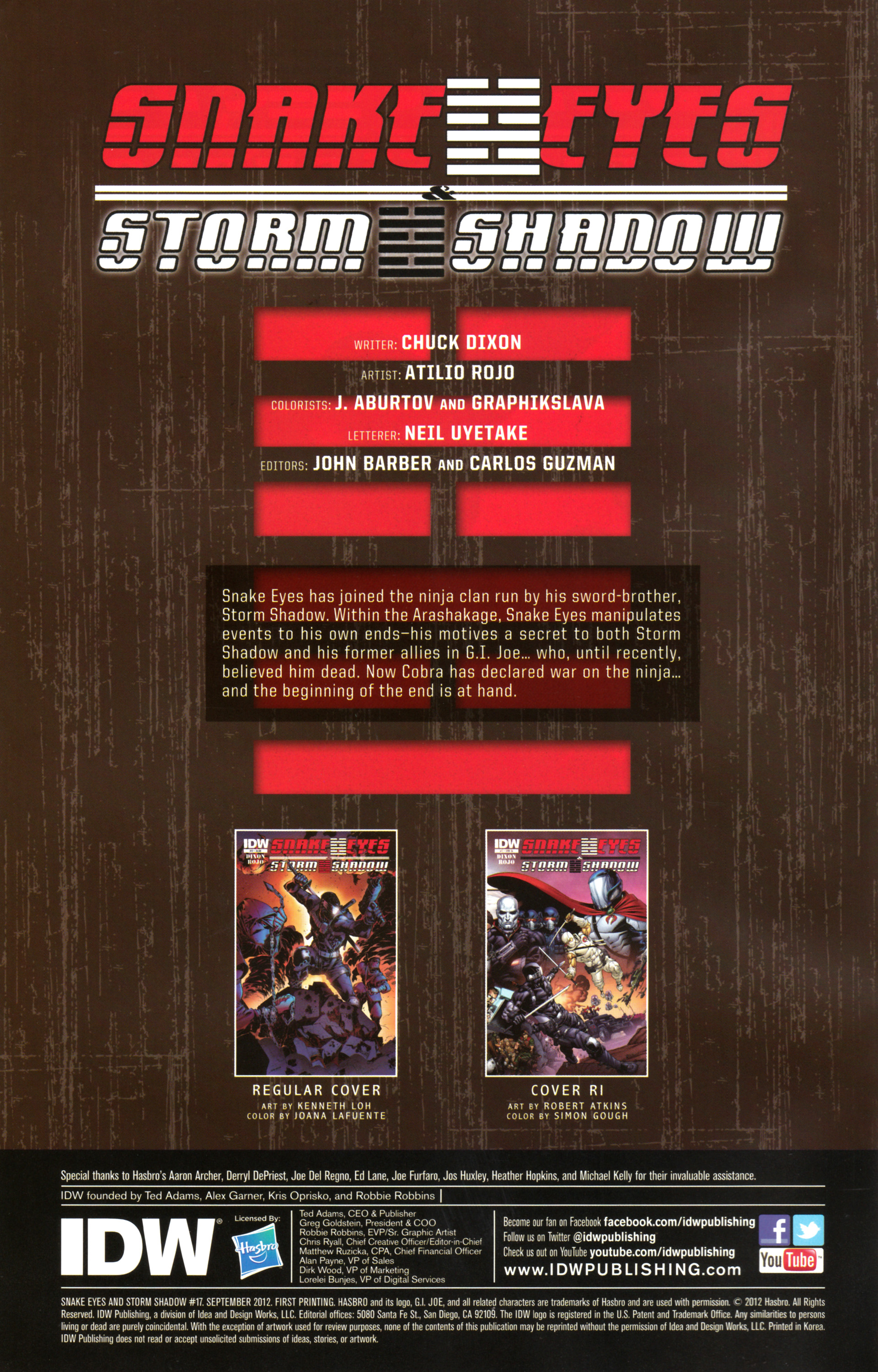 Read online Snake Eyes and Storm Shadow comic -  Issue #17 - 2