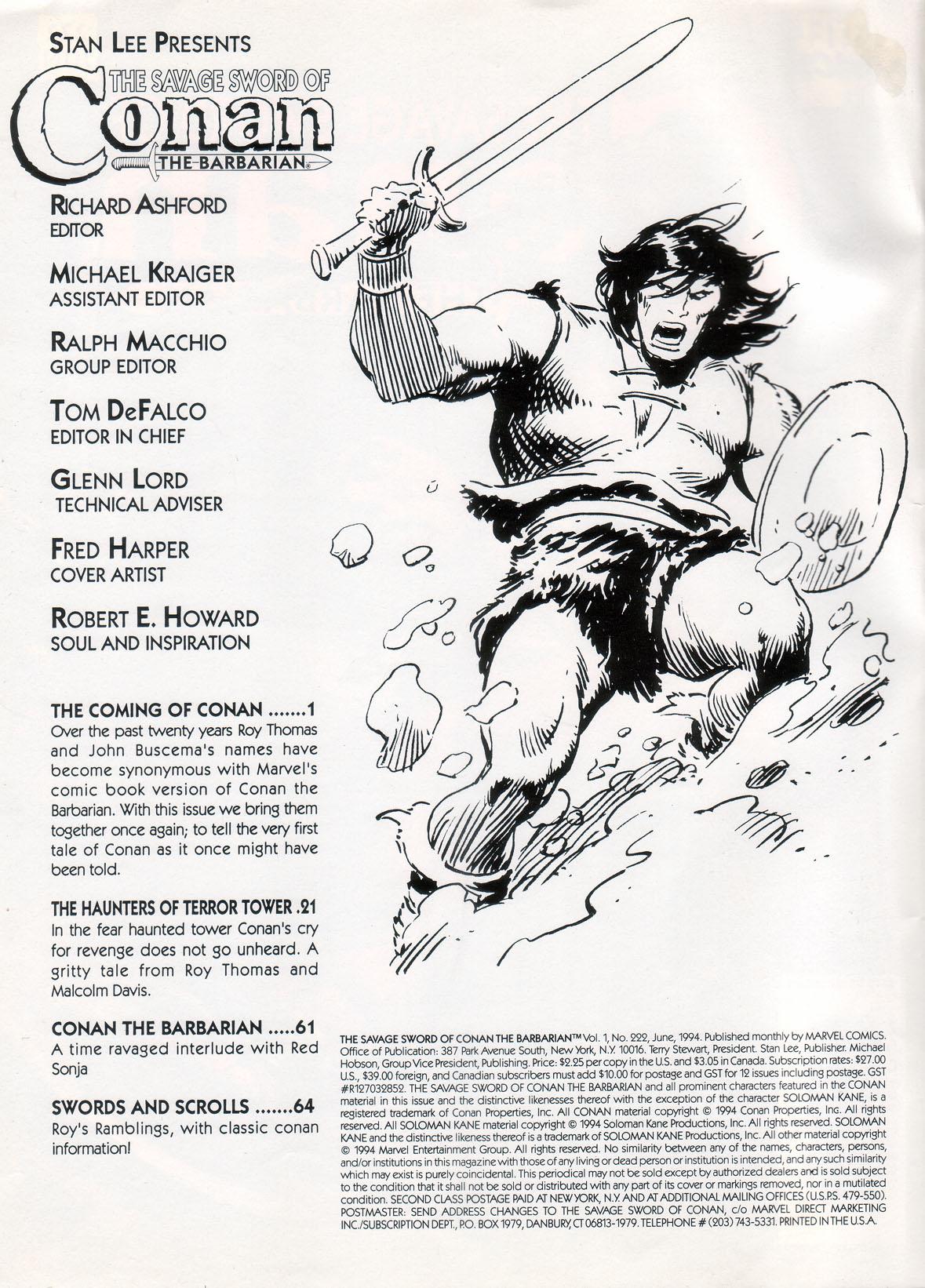 Comic The Savage Sword Of Conan issue 223