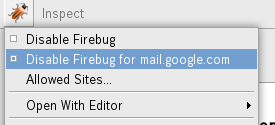 Disable Firebug for Gmail