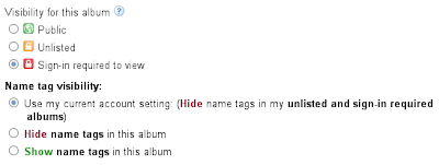 Picasa Web Albums - Private Album Settings