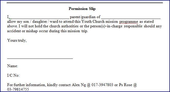 Youth Permission Slip Template. Trip Permission Slip Template