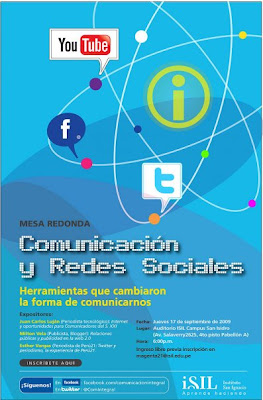 Jueves 17 a las 6 pm. Videostraming: http://www.ustream.tv/channel/redsocialenisil y http://www.isil.edu.pe/isilradio/