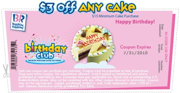 image regarding Baskin Robbins Printable Coupons referred to as Ice Product Cakes Baskin Robbins Discount coupons