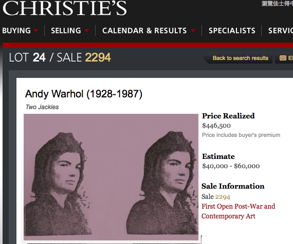 Andy Warhol Jackie II Unpublished Proof on Plexiglass Christie's sold for $446.5K