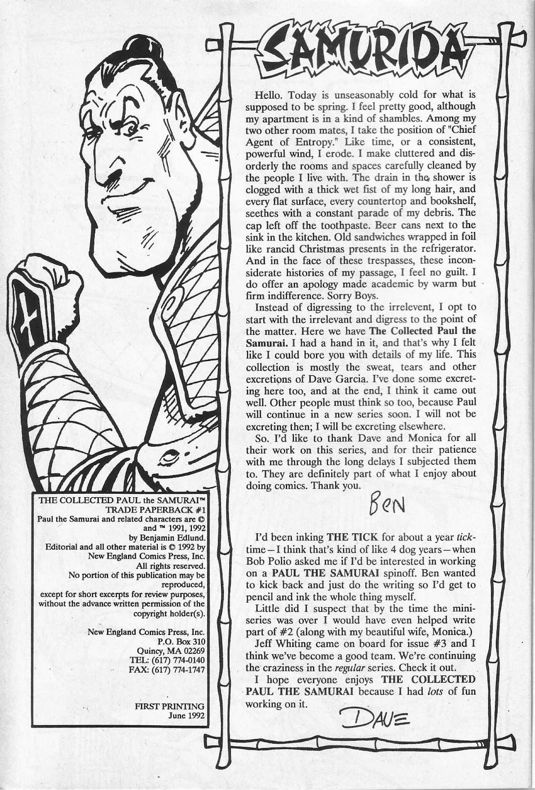 Read online Paul the Samurai (1991) comic -  Issue # TPB - 4
