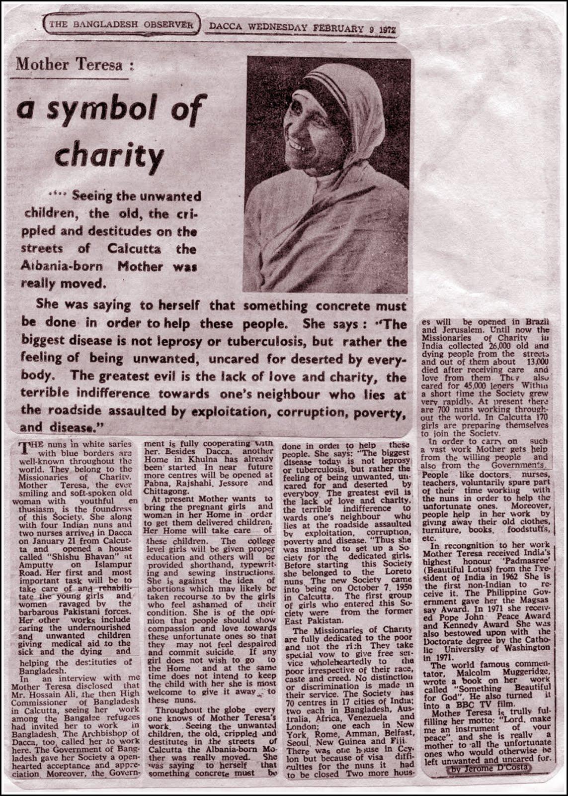 Newspaper article on mother teresa