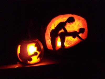 pumpkins of people having sex and a pumpkin of a blowjob