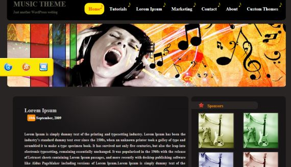 Free WordPress Vector Clean Musical Web2.0 Theme