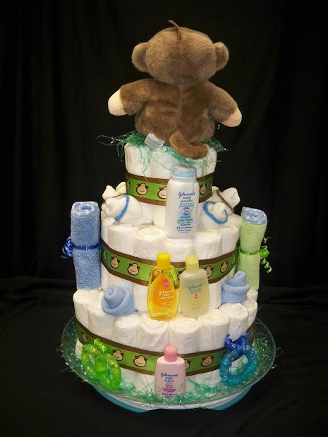 Baby Girl Monkey Diaper Cake