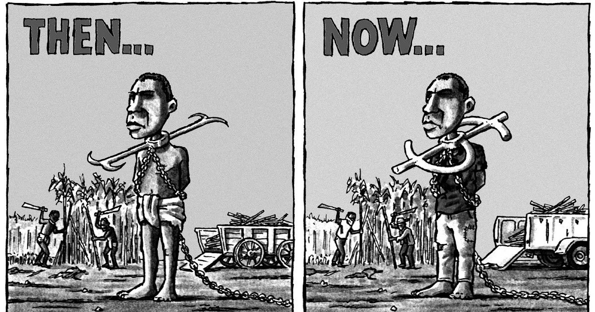 The description of slavery then and now
