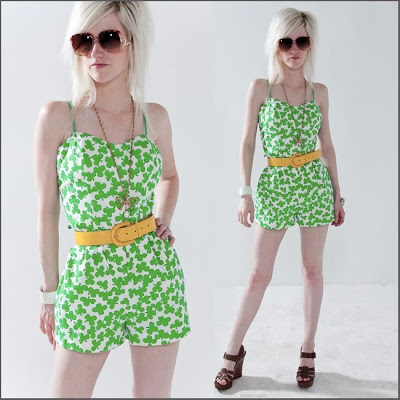 Green 4 Leaf Clover 60s Playsuit from Billy Goat Vintage on Etsy