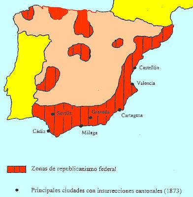 Principales ciudades con isurrecciones cantonales (1873)