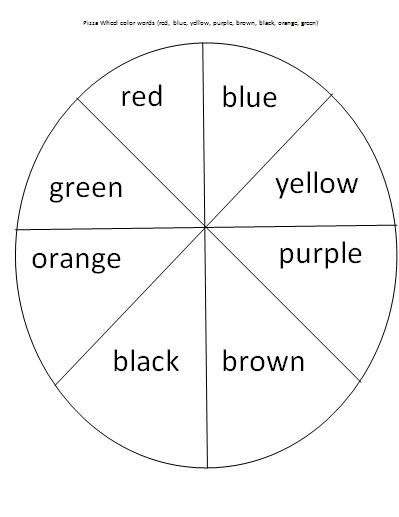 Mrs. Bucket's Teaching Resources: Pizza Wheel Color Words