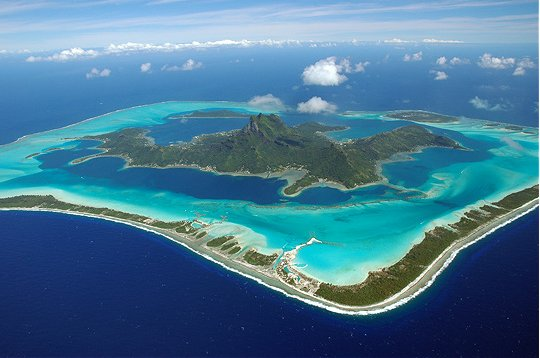 travel bucket list flying Bora Bora