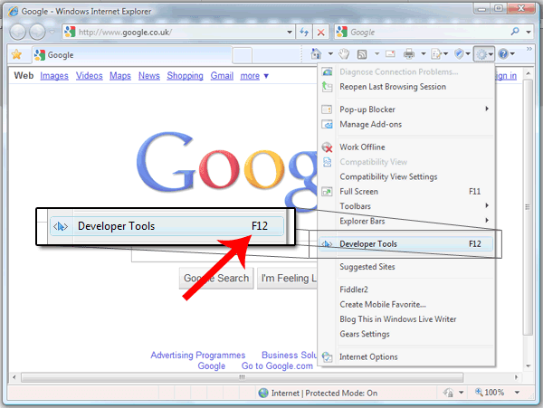 To open the developer tool in Internet Explorer 8; click the cog icon in the top right hand size, then click 'developer tool'