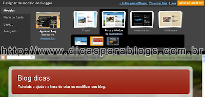Pagina layout do blogspot
