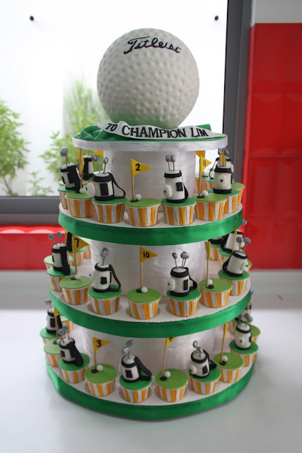 Sculpted Golf Ball Cake And Golf Themed Cupcakes
