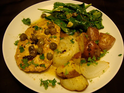 Vegetarian Delights Of A Yogini Gardein Quot Chicken Quot Piccata With Wilted Spinach And Roasted
