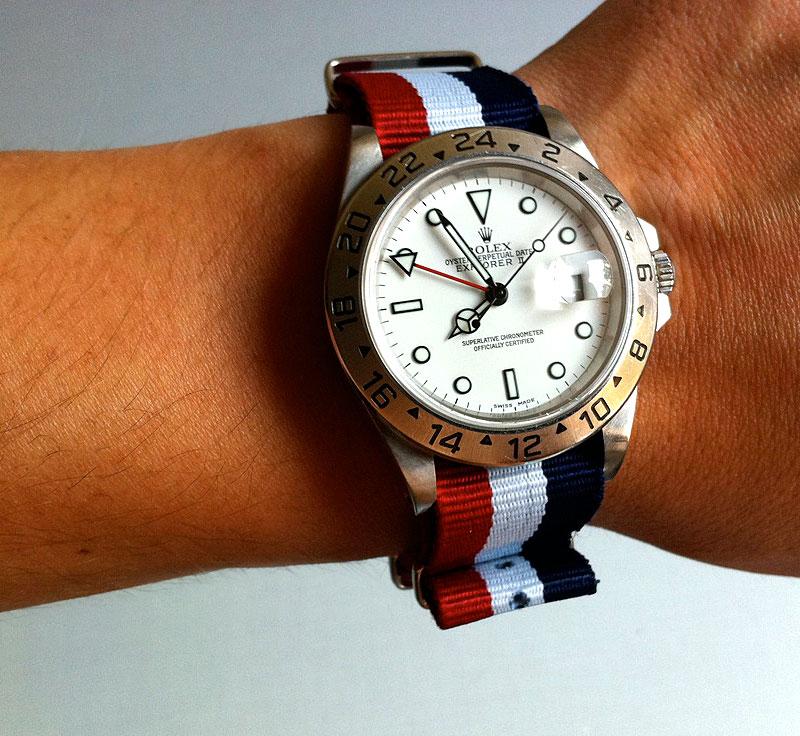 1fc4dcd6d81 Rolex Wrist Shot Of The Day: Andre's Polar White Rolex Explorer II: Red,  White & Blue NATO Strap