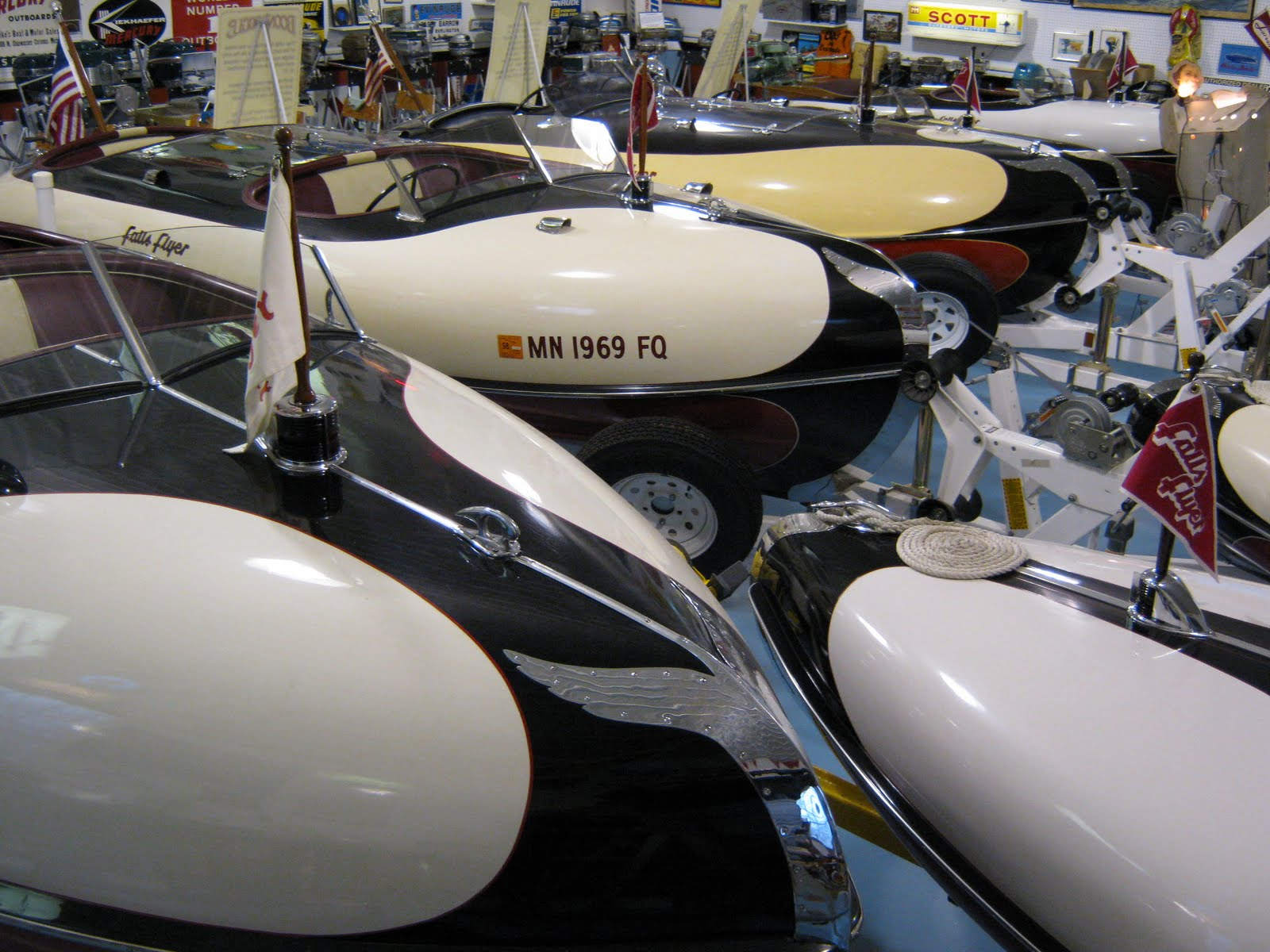 mikkelson collection tour the worlds largest collection of larson falls flyers classic boats woody boater woody boater