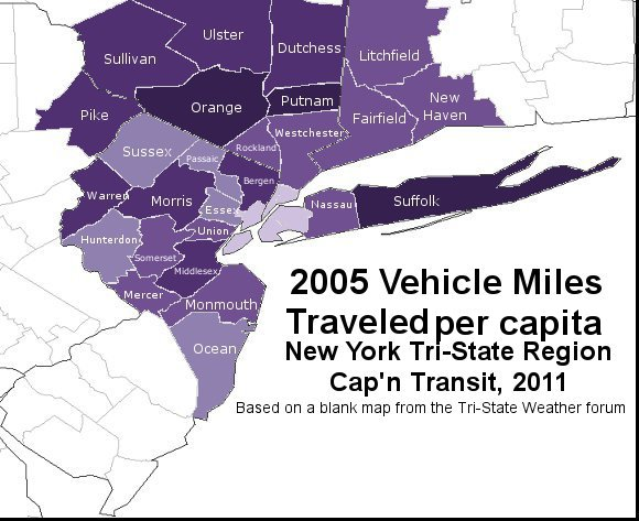 Vehicle Miles Traveled Per Capita By State