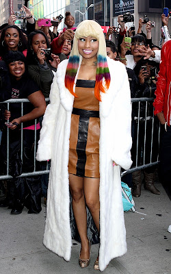 Nicki Minaj out promoting her Pink Friday lipstick in NYC