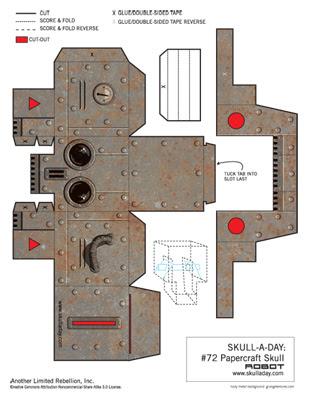 bonus papercraft robot skull. Black Bedroom Furniture Sets. Home Design Ideas