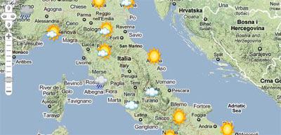 Maps Mania The Italian Weather On Google Maps