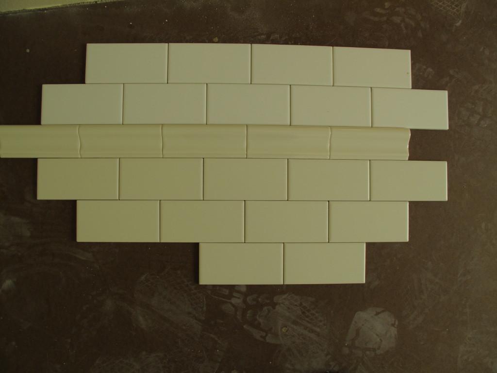 Loft Bath Matte Bisque Subway Tiles Gloss Chair Rail White