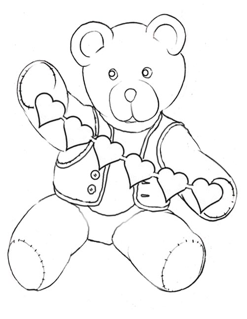 Valentine teddy coloring pages teddy bear coloring printables for Teddy bear printable coloring pages