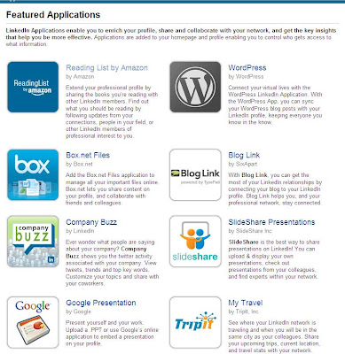 linked applications page snapshot