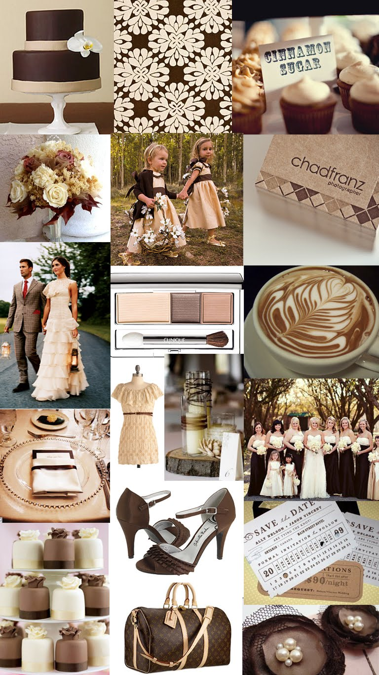 Chocolate Brown And Cream Wedding Color Inspiration Board