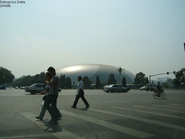 Close to the Tiananmen Square . . the construction for the Olympics in full swing