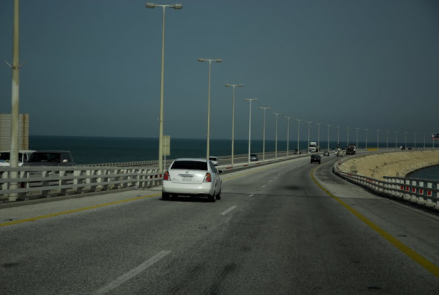King Fahd Causeway connecting Al-Khobar in Saudi Arabia to the Kingdom of Bahrain.