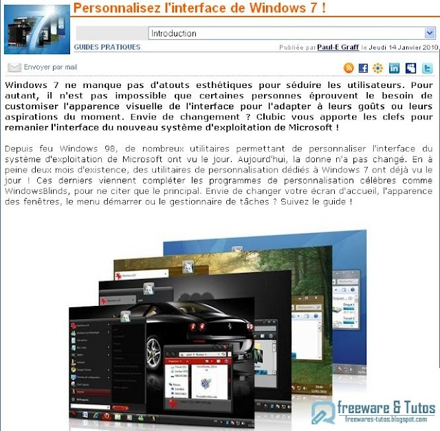 Le site du jour : personnaliser l'interface de Windows 7