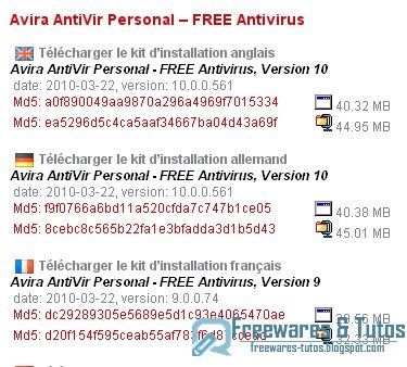 Antivir sort en version 10