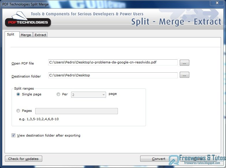 <b>PDF</b> <b>Split</b> <b>Merge</b> <b>Extract</b> Tool 1.2 - free download for Windows