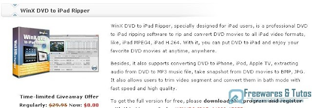 Offre promotionnelle : WinX DVD to iPad Ripper gratuit !