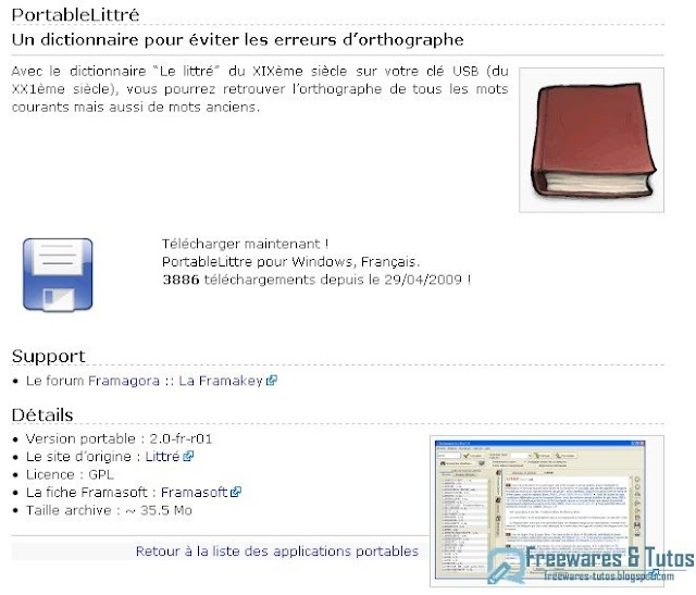PortableLittré : le dictionnaire Le Littré en version portable