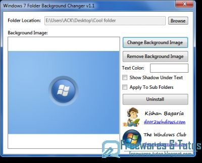 Windows 7 Folder Background Changer : un logiciel portable pour personnaliser les dossiers sous Windows 7