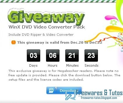 Offre promotionnelle : WinX DVD Video Converter Pack gratuit !