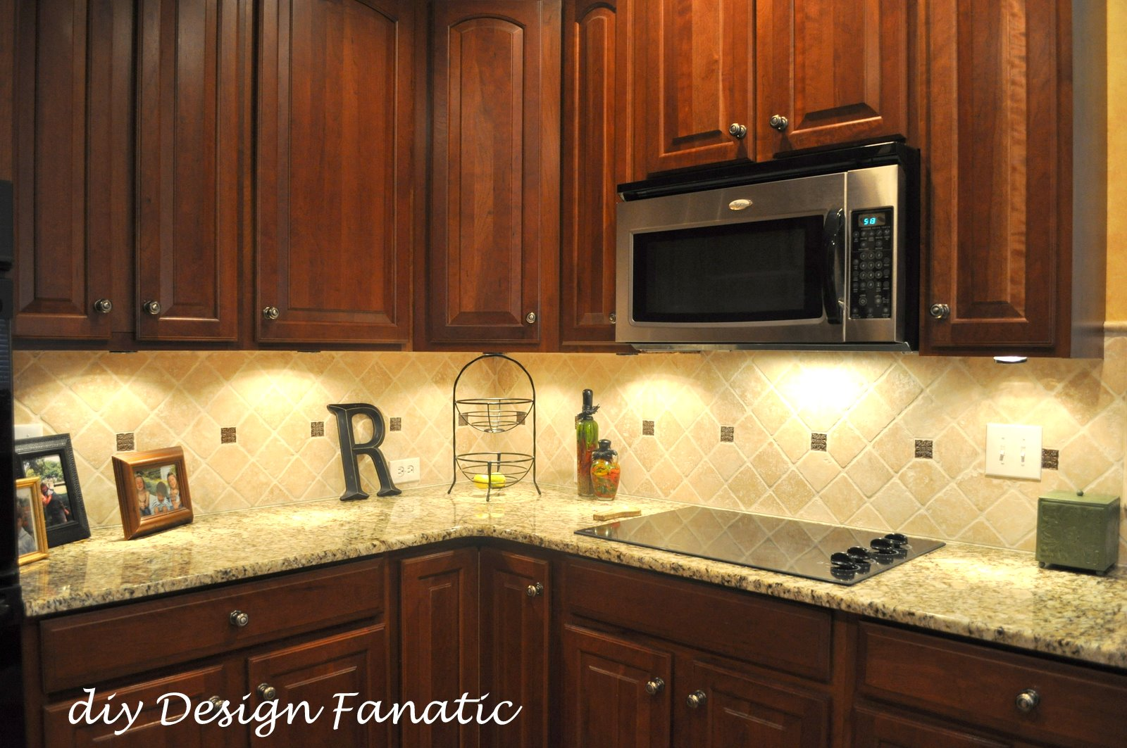 A Closer Look At The Backsplash Installed On A Diagonal