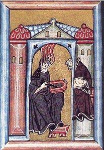 Hildegarde de Bingen recevant l'inspiration divine