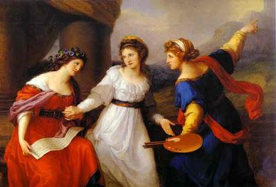 Autoportrait hésitant entre l'art de la peinture ou de la musique (1791), Maria Anna Angelica Kauffmann
