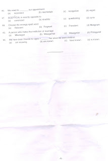 PA/SA RECRUITMENT APTITUDE TEST QUESTION PAPER AND ANSWER