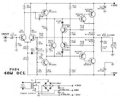 2n3055 Transistor Power Amplifier Circuit Diagram