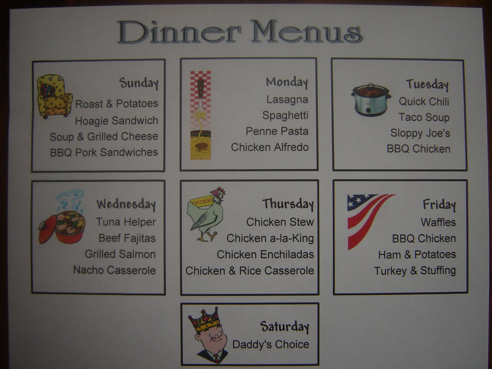 food storage organizer: simple family dinner menus